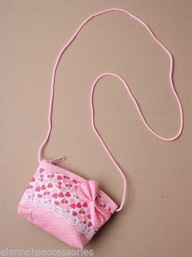 Mädchen Bow Heart Spotty Zip Geldbörse mit Schnur Handtasche in lila rosa Geburtstagsgeschenk (Bow Handtasche Rosa)