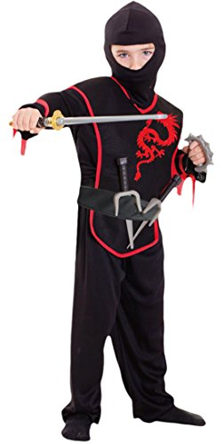 erdbeerloft - Jungen Ninja Kostüm, Karneval, Fasching, Halloween, Schwarz, 98-116, 3-6 Jahre