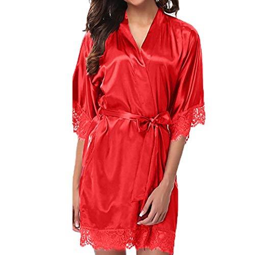 Kimono Batas Mujer, ❤️ Modaworld Ropa de Dormir de Encaje Sexy para Mujer de satén Traje de Pijama de lencería Dama Bata de baño Vestidos de Noche camisón