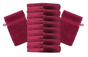 10er Pack Waschhandschuhe Waschlappen Premium Größe 16x21 cm Farbe Dunkelrot Kordelaufhänger 100% Baumwolle