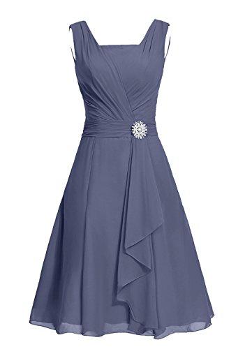 Dresstells, robe courte de demoiselle d'honneur mousseline col carré Rose