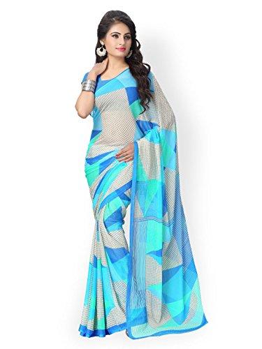 Aaradhya Fashion Women`s SkyBlue Chiffon Saree (sky-blue)  available at amazon for Rs.499