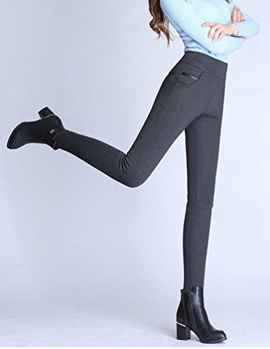 YiLianDa Femme Pantalon Droit Printemps Hiver Mince Taille Haute Leggings Collant Moulant Chic Gris