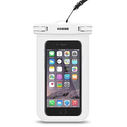 "Bolsa Impermeable Móvil Universal, Kosse IPX8 Bolsa Estanca para iPhone 7/6S, 7/6S Plus, SE, Galaxy S7/S6/J7/J5/J3, Huawei P20/P9/P8 Lite, Xiaomi A1/Redmi Note 5/5 Plus Hasta 6,0"" Diagonal -Blanco"