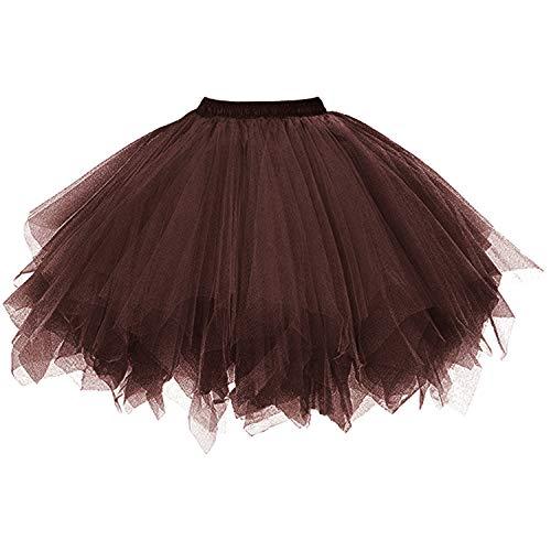DresseverBrand Damen Petticoat 50er Rockabilly Jahre Retro Tutu Ballet Tüllrock Cosplay Crinoline Schokolade XX-Large