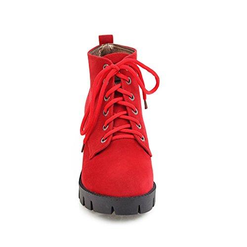 ZQ@QX In autunno e inverno a testa circolare di spessore e con il vento selvaggio con studenti del college, Martin stivali donna Stivali Stivali corto red
