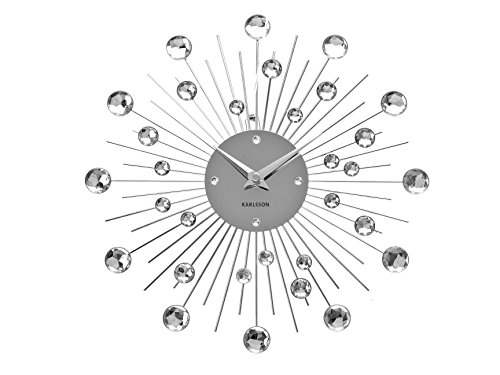 "KARLSSON ""Sunburst""  Wall Clock,  Silver"