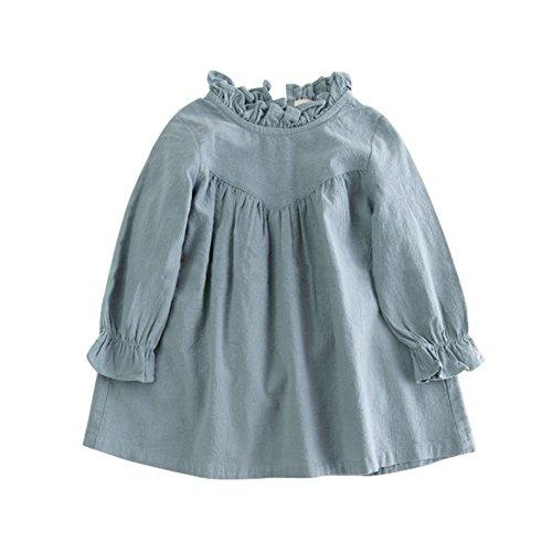 Brightup Baby Kinder Frühling Kleid Mädchen Langarm Kleid 2018 Kleidung Outfits Prinzessin Kleid Baumwolle Leinen Kleid Rüschen Prinzessin Kleid (Bedruckte Leinen-kleid)