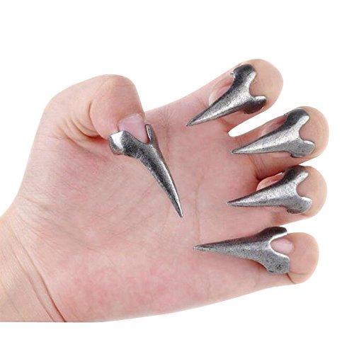 ng 10PCS falsche Nägel Krallen Pfote Talon Finger Ringe Vintage 3D Gothic Punk Stil Kristall Krallen Prote Fingerring Fingernagel Ring Nagelring Cosplay Dekoration Silber (Kostüme Fingernägel)