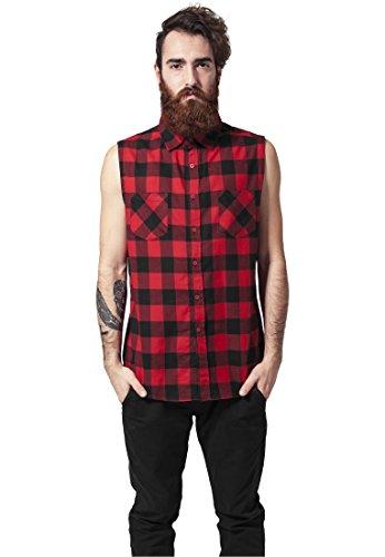 Urban Classics Sleeveless Checked Flanel Shirt Camicia senza maniche nero/rosso S