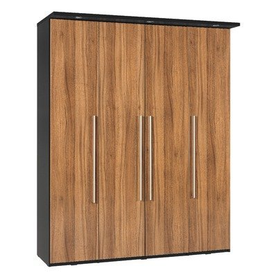 Argento Four Door Wardrobe in Black and High Gloss Walnut