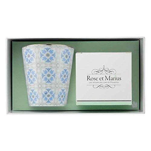 Bougie parfumée Rose et Marius cabanoun Bleu ciel avec motif anciennes Rose/motif ciel bleu Gobelet réutilisable avec platine véritable et rose garden – Bougie parfumée – 200 g
