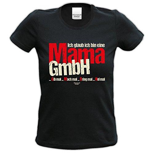 cooles T-Shirt Frauen Damen Motiv Ich glaub ich bin eine Mama GmbH Geschenk-idee, Muttertag, Weihnachten kurzarm Outfit, Kostüm Farbe: schwarz Gr: M