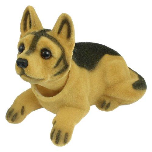 sourcingmap Cabeza Oscilante Perro Forma Ornamento para Coche Negro Marrón 17cm