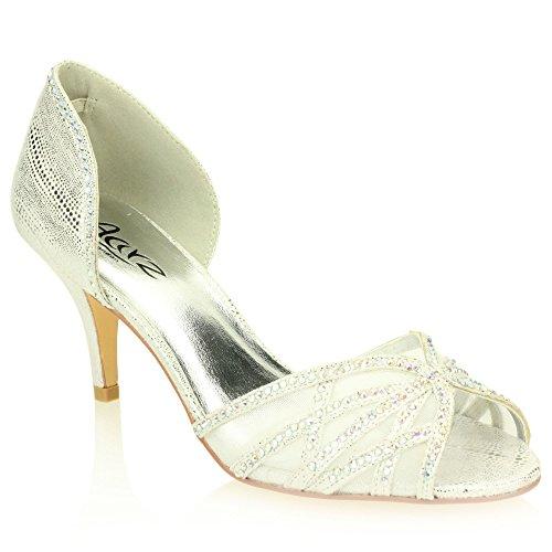 Frau Damen Abend Hochzeit Party Mittlere Kitten-Heel Diamante Peep Toe Braut Sandale Schuhe Gr枚脽e (Gold, Silber) Silber