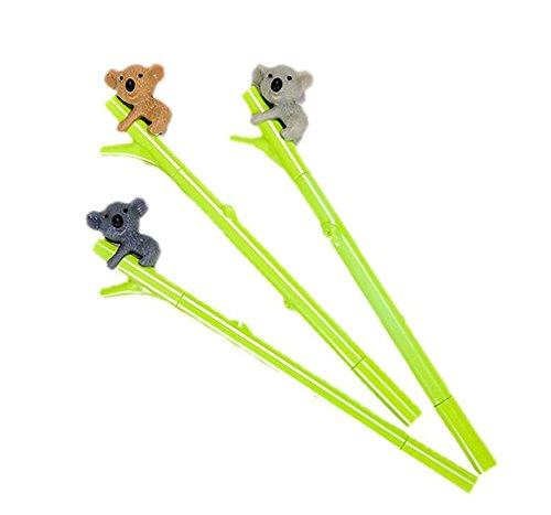 Hosaire Cartoon Pen Cute Koala Bear Gel Black Ink Plastic Pen with 0.5mm Fine Point Roller ball Pens Green Pack of 3(Color Random)