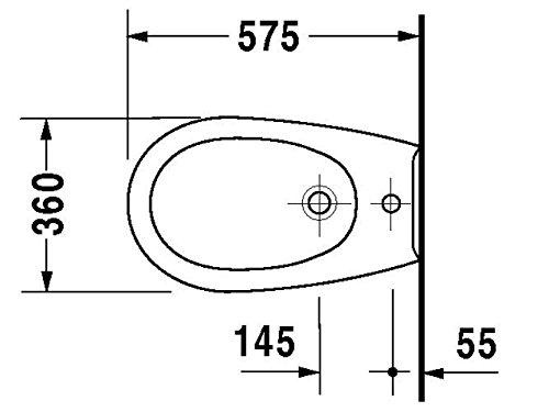 Duravit Wand Bidet Duraplus Colomba 57, 5cm 1 Hahnloch, bahamabeige WonderGliss 25321041001