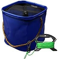 A-szcxtop 8L portátil plegable EVA pesca cubo de agua con 6m cuerda, plegable cuadrado Camping cubo cubo, ligero, ideal para al aire libre Viajes, senderismo, Backpacking, azul