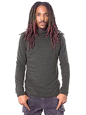 Men's Comfy Long Sleeves Shirt - Fine Poly-Cotton Pullover with Loose Turtle Neck - Urban (Novità Mens Pullover)
