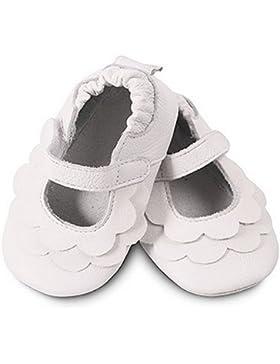 ShooShoos - Zapatitos de piel suela blanda, volantes blancos, talla l (12 a 18 meses)