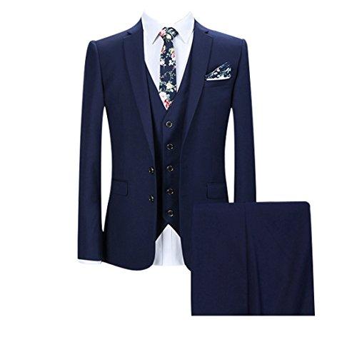 G WELL Herren 3-teilige Anzüge Set Bügelfreie Anzugjacke + Weste + Hose für Freizeit Business Hochzeit 2 Knöpfe M (Zwei-knopf-anzug-blazer)