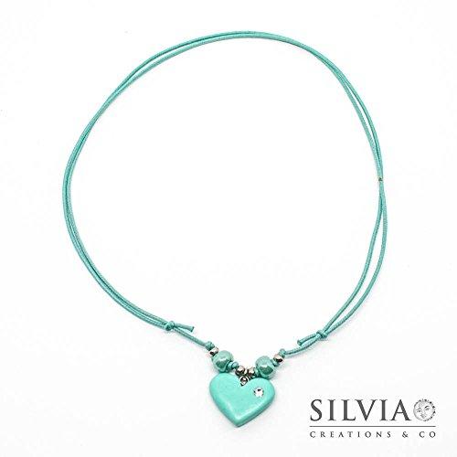 Collana cordino cerato con cuore azzurro acqua