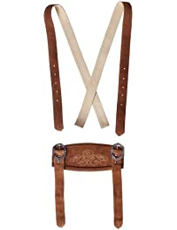 Unbekannt Klassische Hosenträger für Trachten Lederhosen Hosenträger H-Träger Rehbraun