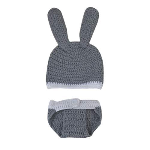 Baby Das Für Kostüm Hase - YeahiBaby Baby Hase Kostüm mit Kaninchen Hut Stricken Mütze Fotografie Requisiten Kleidung Säugling Neugeborene Fotografie Prop