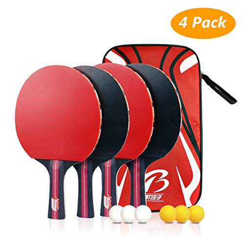 Tencoz 4Pack Raquettes de Tennis de Table, Set de...