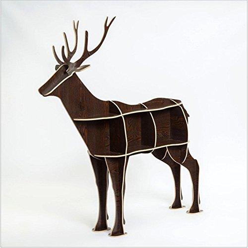 WSZYD Tier Hirsch ein paar kreativen Rand Stil Bücherregal aus Holz Regal Konsolentisch exklusive Einrichtungsgegenstände Ornamente 136 * 145CM ( Color : B ) (Remote-sub Control)