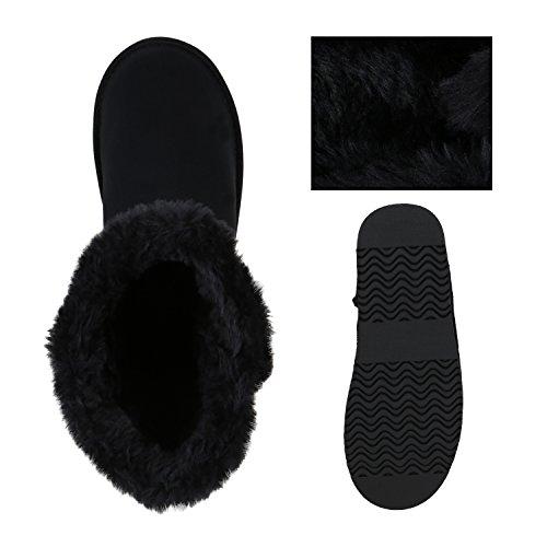 Damen Schuhe Schlupfstiefel Boots Winterstiefel Schwarz Knopf