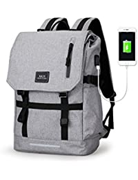 Muzee Backpack For School Travel Rucksack Fits Up To 17 Inch Laptop (Grey)