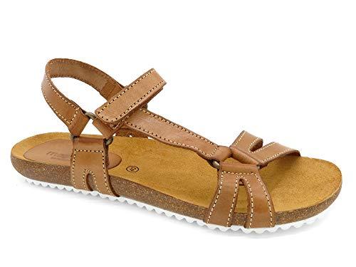 Morxiva - Made In Spain - Damen Leder Sandalen mit Kork-Sohle und Leder-Fußbett. Bequeme Echtleder Klettverschluss Sommerschuhe im Wander-Sandalen Stil. 855 beige-braun Gr. 38 -