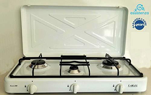 Fornello da campeggio a gas bianco GPL 3 fuochi bruciatori cucinino da appoggio