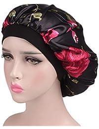 d6e17cccff15 Chapeau Bonnet de Nuit Sommeil Femme en Satin Coiffure Soin Cheveux Imprimé  Floral ...
