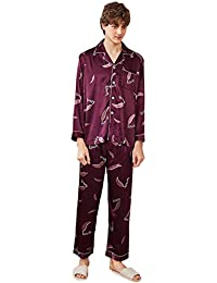 1b70d3dfa4 MEMIND Herren Pyjamas Herren Tops und Bottoms Frühling und Sommer Langarm  Hose Blau Freizeit Täglich Komfortable