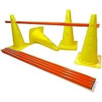 Splay Agilidad entrenador Set–12conos 40cm. Con Agujero y 6postes (amarillo)