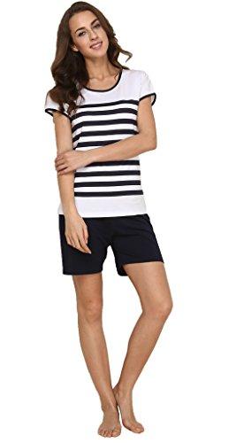 Schlafanzug Damen pyjama tshirt & kurz hose - Suntasty 011 kurzer nachtwäsche zweiteiliger Anzug Oberteil mit Gestreifen Shirt & Shorts ideal als Homewear oder Loungewear (DarkBlue,XL,1011) (Gestreifter Anzug Schwarz)