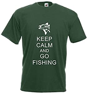 Keep Calm And Go Fishing T Shirt Funny Fisherman Tee Gift Top Fish Xmas Present