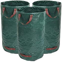 3 x 120L Sacs à déchets de jardin, étanche Heavy Duty Grande Sacs avec poignées, pliable et réutilisable