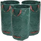 GIOVARA 3 x 120 litros de Bolsas de Basura de jardín, Resistentes al Agua, Grandes Bolsas de Basura con Asas, Plegables y Reutilizables