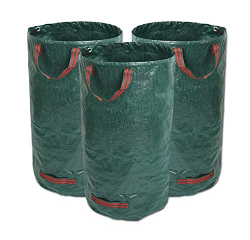 GIOVARA 3 x 300L Garden Waste Bags,Waterproof Heavy Duty Large Refuse Sacks with Handles,Foldable and Reusable (3)