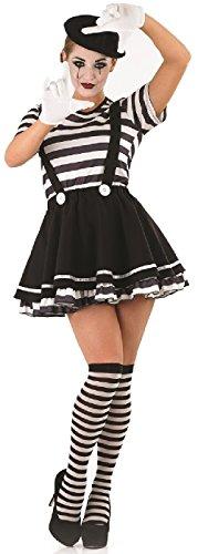Fancy Me Damen Kostüm Verkleidung Französische Pantomime Künstler Zirkus 5 Teile Halloween Verkleidung Outfit EU 36-50 Übergröße - Schwarz/Weiß, EU 48-50