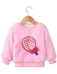 Internet Bébé filles enfants Sucette Manches longues pulls Col rond Pullover chaud occasionnels Sweatshirt