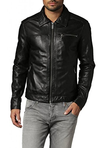Leather4u KC696 Herren Lederjacke, Rindsleder , Schwarz