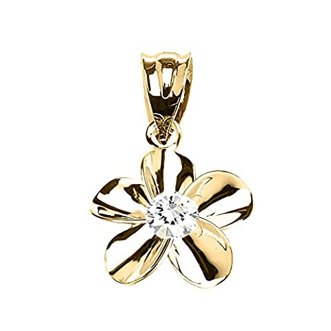 10 ct Yellow Gold Hawaiian Plumeria Cubic Zirconia Elegant Pendant Necklace (Comes With an 18