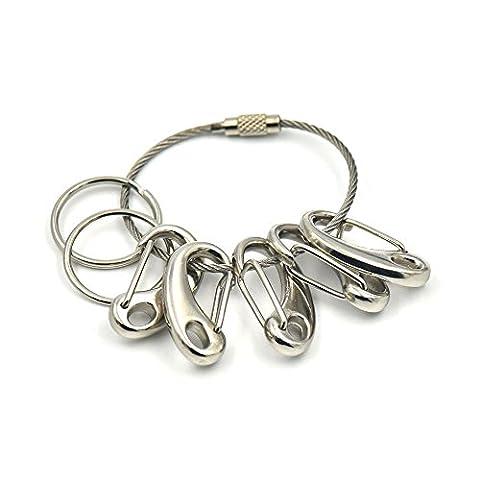 Fujiyuan One Lot de 5porte-clés Clip + 2+ 4.8cm Wire Cable Twist pivotant Clé inoxydable