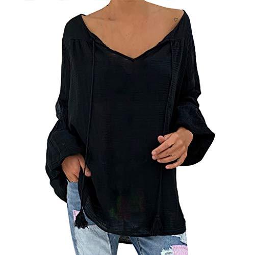 Langärmliges Einfarbiges V Neck Oberteil Mit Loser Leuchtstoffröhre Frauen Lose Plus Size Solid Langarm V-Neck Pullover Tops Shirt