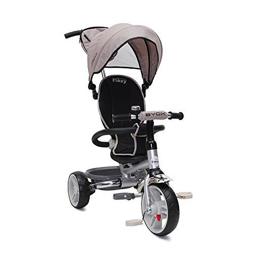 Tricycle Flexy, Dreirad mit Stange, Sonnendach uvm (Beige)