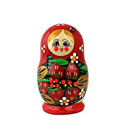 Heka Naturals Matryoshka Bambole Russe di nidificazione Fatte a Mano in Russia 5 Pezzi di 12 cm di Regalo in Legno